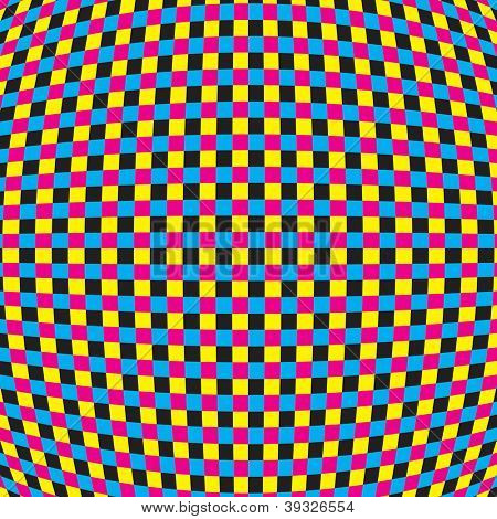 CMYK Optical Illusion Abstract Vector Background