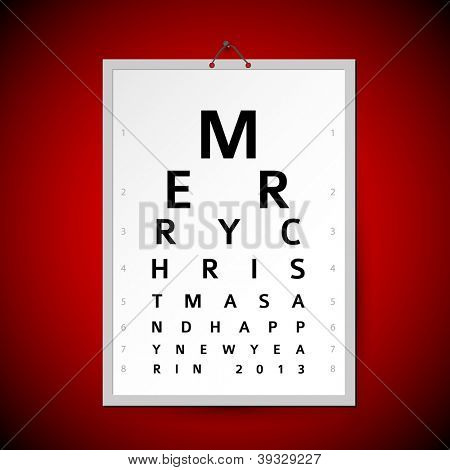Vector Christmas eye test chart as original christmas card
