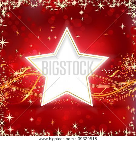 Christmas background with stars, snow flakes and wavy lines on red background with blurred light dots for your festive occasions.
