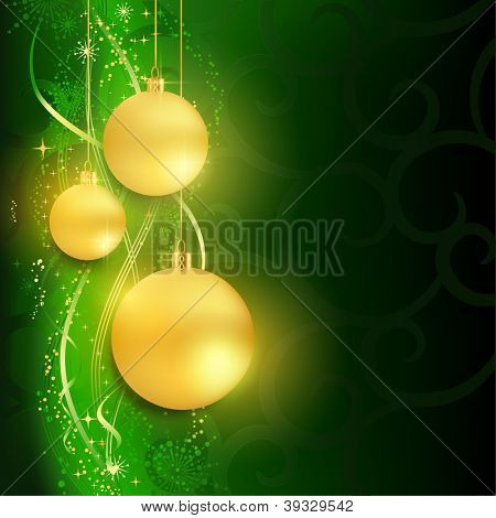 Festive dark green Christmas background with golden golden baubles and a background pattern of snow flakes, wavy lines, swirls and grunge elements.