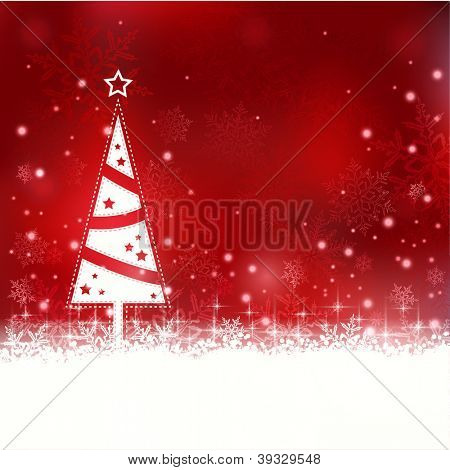 Snowflakes and blurry lights on dark red background with a minimalistic Christmas tree with star. Great backdrop for winter or Christmas themes. Space for your text.