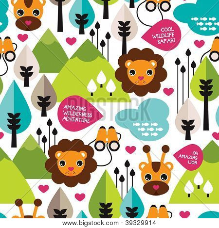 Seamless retro kids safari lion wildlife background pattern in vector