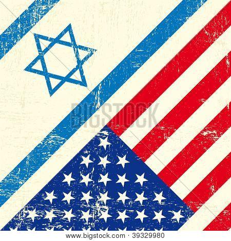Israel und der US-amerikanischen Grunge-flag