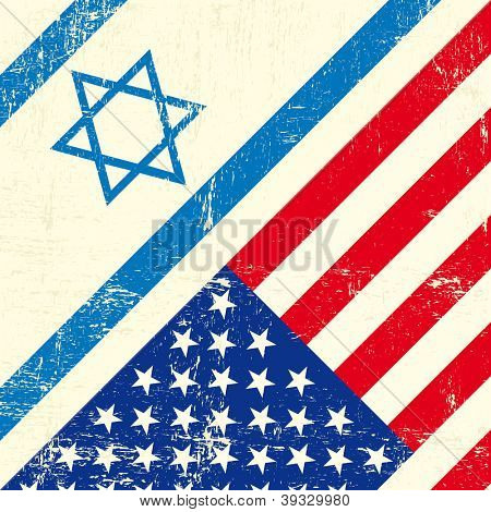 Israel and american grunge flag