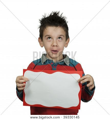 Boy Looking Up And Holds White Board