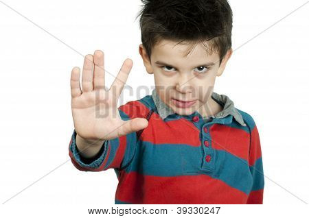 Little Boy Showing Stop With His Hand