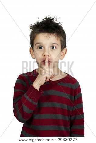 Little Boy Showing Silence