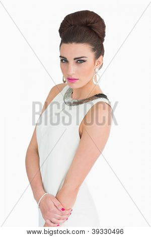 Woman dressd up in mod style on white background
