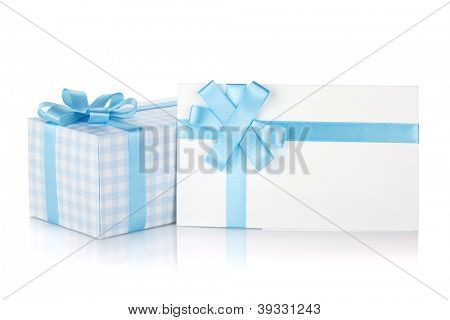 Gift box and letter with ribbon and bow. Isolated on white background