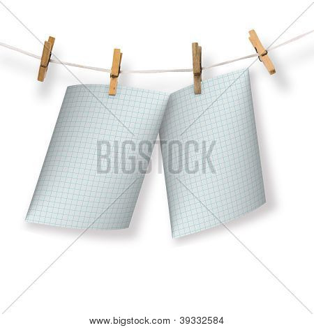 Greeting Card Hanging On A Rope And Clothespins  On The White Background