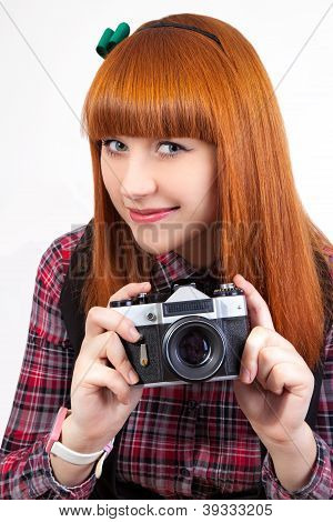 Portrait Of A Beautiful Young Red - Hair Female With Old Camera