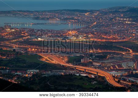 Nightfall In The Great Bilbao, Bizkaia, Basque Country, Spain