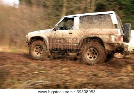 Off-road 4x4 lifestyle and hobby. Blur motion.