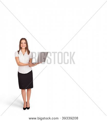young woman presenting white copy space isolated on white