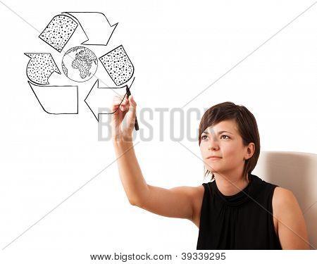 Jovem desenho globo reciclagem no quadro isolado no branco