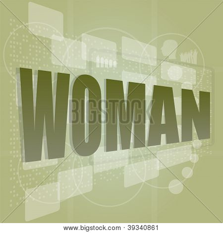 Words Woman On Digital Screen, Social Concept