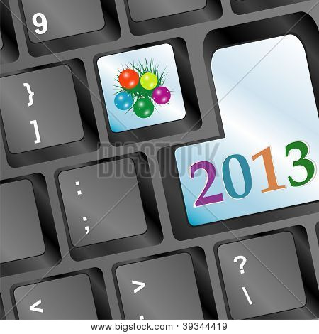 Happy New Year Word On Keyboard Button And Fir And Balls