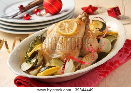Roasted Whole Chicken With Vegetables And Christmas Decoration