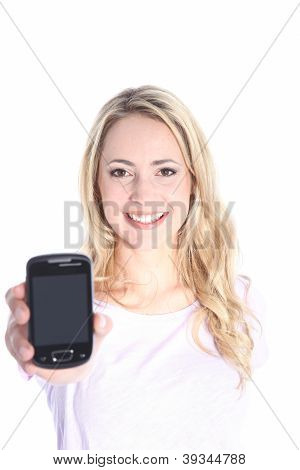 Smiling Girl With A Smartphone