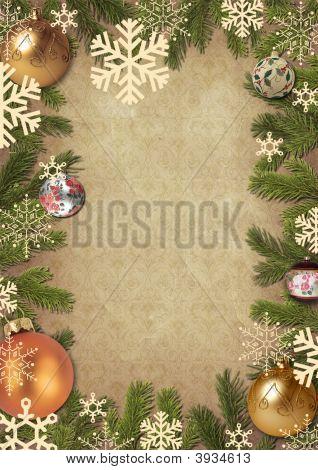 Rahmen von den Zweigen eines Weihnachtsbaumes mit Fell Baum Spielzeug