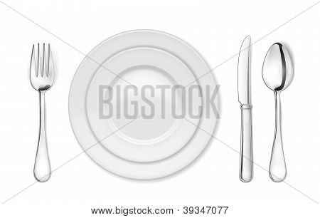 Dinner plate, knife, fork and spoon