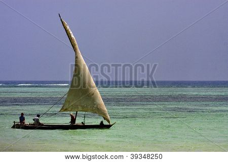Beach And Boat In  Zanzibar