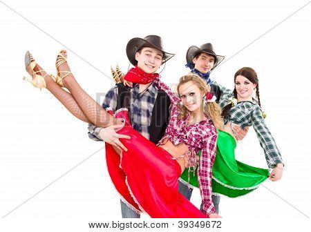 Smiling Cowboys And Cowgirls Dancing