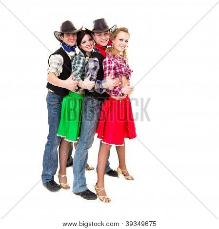 Smiling Cowboys And Cowgirls With Thumbs Up Gesture