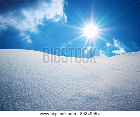 Snow hills. Composition of nature.