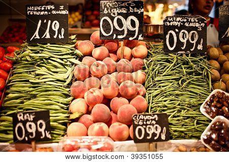 La Boqueria market with vegetables and fruits