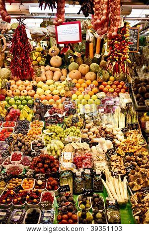 La Boqueria market with vegetables and fruits