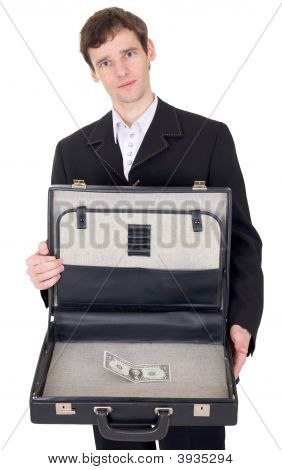 Man With Suitcase Containing Dollar