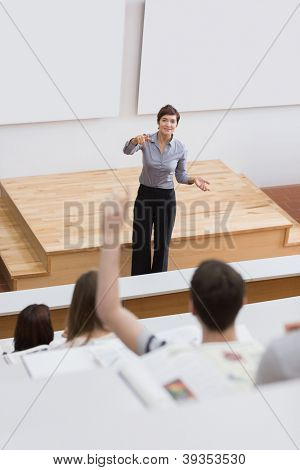 Student is asking question in lecture