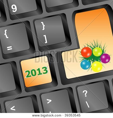Christmas Button With Balls And Fir On Keyboard