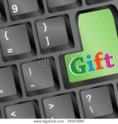 New Year Gift Words On Green Keyboard Button - Christmas