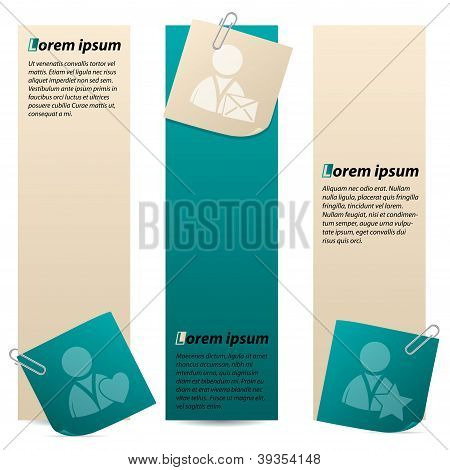 Banners con Red Social tema Notepapers