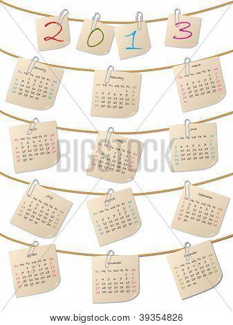 Hanging Notepapers 2013 Calendar Design