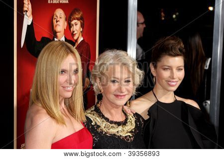 LOS ANGELES - NOV 20:  Toni Collette, Helen Mirren, Jessica Biel arrive at the LA  'Hitchcock' Premiere at Academy of Motion Pictures Arts and Sciences on November 20, 2012 in Beverly Hills, CA