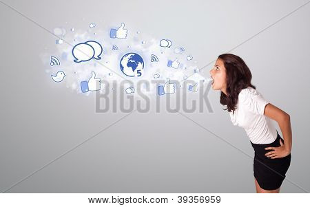 beautiful young woman gesturing with social network icons