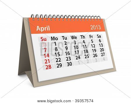 Monthly Calendar For New Year 2013. April