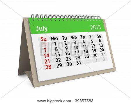 Monthly Calendar For New Year 2013. July