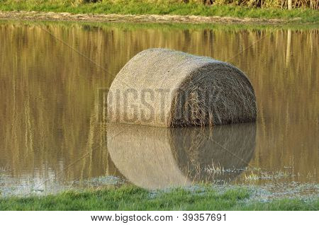 Hay bail in flooded field