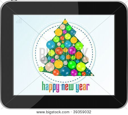 Christmas Tree With Balls On Tablet Pc