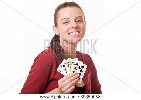 Young Woman Holding In Hand Poker Card