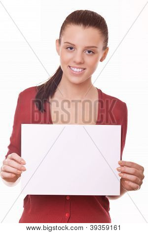 Woman With Blank Board