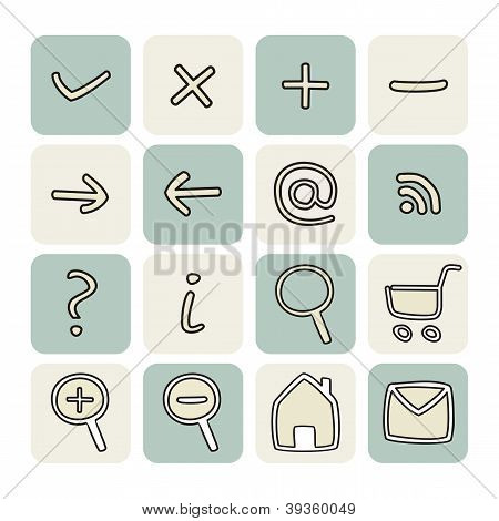 Vector set with doodle hand drawn icons