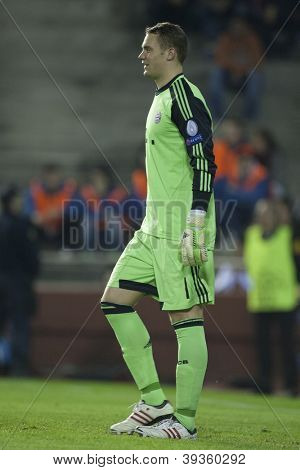 VALENCIA - NOVEMBER 20: Manuel Neuer during UEFA Champions League match between Valencia CF and FC Bayer Munchen, on November 20, 2012, in Mestalla Stadium, Valencia, Spain