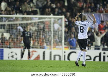 VALENCIA - NOVEMBER 20: Sofiane Feghouli celebrating his goal during UEFA Champions League match between Valencia CF and FC Bayer Munchen, on November 20, 2012, in Mestalla Stadium, Valencia, Spain