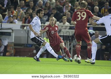 VALENCIA - NOVEMBER 20: Franck Ribery during UEFA Champions League match between Valencia CF and FC Bayer Munchen, on November 20, 2012, in Mestalla Stadium, Valencia, Spain