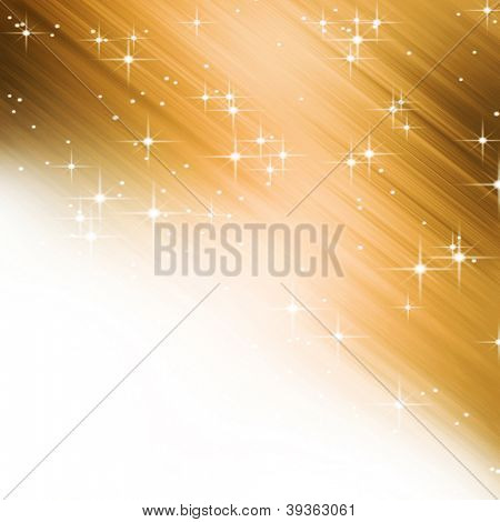 Golden starry background with copy space